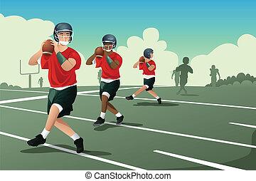 dzieciaki, w, amerykańska piłka nożna, praktyka