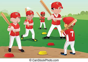 dzieciaki, w, baseballowa praktyka