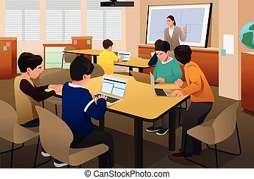 dzieciaki, w, komputerowa klasa