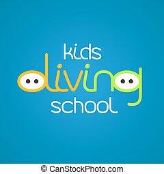 dzieciaki, wektor, snorkeling, nurkowanie, logo, ikona