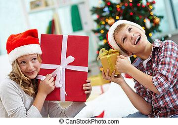 dzieciaki, z, dary