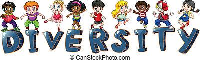 dzieciaki, z, różny, narodowości