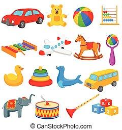 dzieciaki, zbiór, zabawki