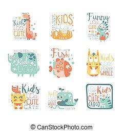 dzieciaki, zwierzęta, nowoczesny, kaprys, projektować, litery, logo