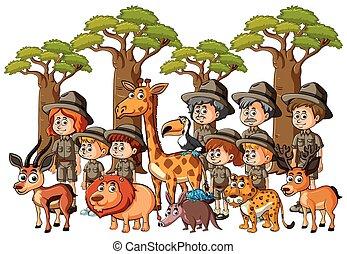 dzieciaki, zwierzęta, parkrangers, las