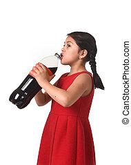 dziecko, butelka, cielna, napój, cukier, nadużycie, samica, soda, picie, dzierżawa, szczęśliwy