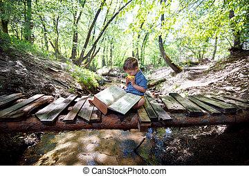 dziecko czytanie książka, outdoors