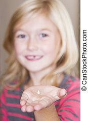 dziecko, dzierżawa, jej, frontowy ząb