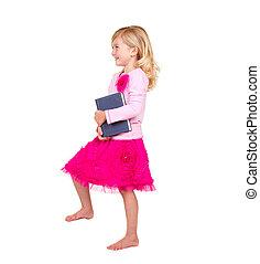 dziecko, dzierżawa, książka, krocząc