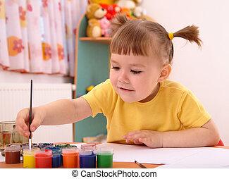 dziecko, gierka, malatura, w, preschool