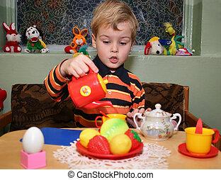 dziecko, gra, herbata, w, przedszkole