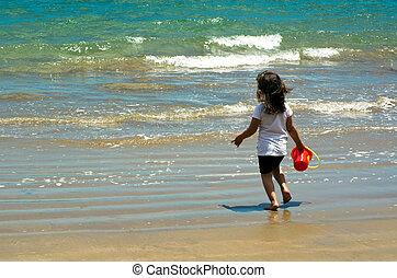 dziecko, gra, na plaży