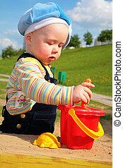 dziecko, gra, w, sandbox