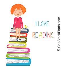 dziecko, i, książki, -, miłość, żeby przeczytać, pojęcie, ilustracja