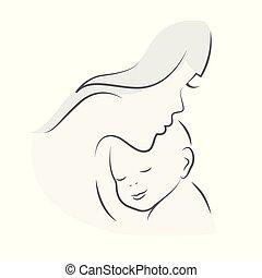 dziecko, jej, macierz, mamusia, uściski, niemowlę, kreskówka