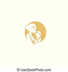 dziecko, jej, uściski, ilustracja, wektor, macierz, konserwator