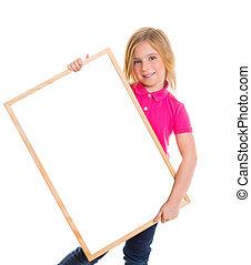 dziecko, koźlę, szczęśliwy, dziewczyna, dzierżawa, czysty, tablica, copyspace