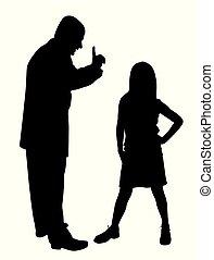 dziecko, ojciec, konflikt, czupurny, między