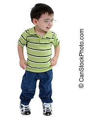 dziecko, okulary, chłopiec