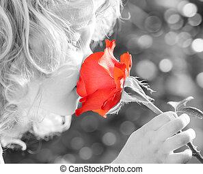dziecko, pachnący, róża