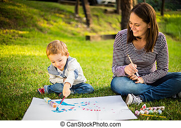 dziecko, park, syn, macierz, malarstwo, szczęśliwy