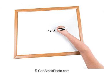 dziecko, pisanie, na, niejaki, obeschnięcie wycierają deskę, z, niejaki, markier