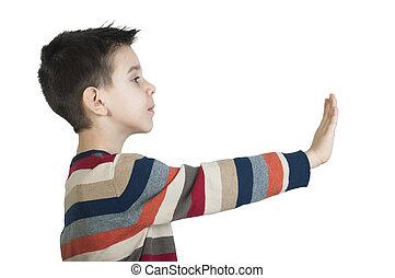 dziecko, pokaz, zatrzymywać, symbol