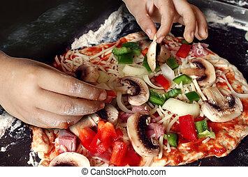 dziecko, przygotowując, pizza