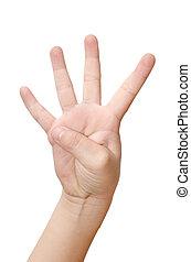 dziecko, ręka, jest, pokaz, cztery, palce, odizolowany, na białym, tło