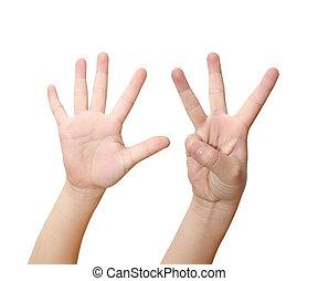 dziecko, ręka, jest, pokaz, osiem, palce, odizolowany, na białym, tło