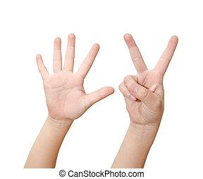dziecko, ręka, jest, pokaz, siódemka, palce, odizolowany, na białym, tło