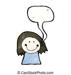 dziecko rysunek, od, niejaki, kobieta, z, bańka mowy