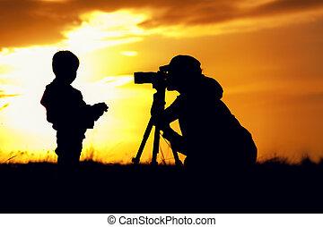 dziecko, sylwetka, fotografowanie, jej, macierz