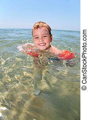 dziecko, w, morze