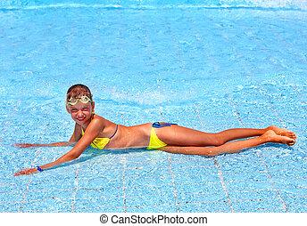 dziecko, w, pływacki, pool.