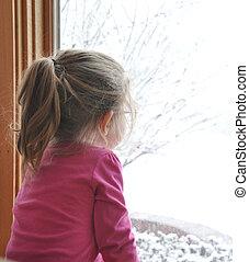 dziecko, wyglądając, zima, okno