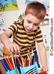 dziecko, z, ołówek, w, gra, room.