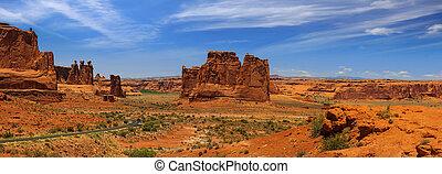 dziedziniec, panoramiczny, narodowy park, dom, wieże, prospekt, sklepia