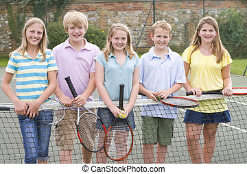 dziedziniec, tenis, młody, rakiety, piątka, uśmiechanie się,...
