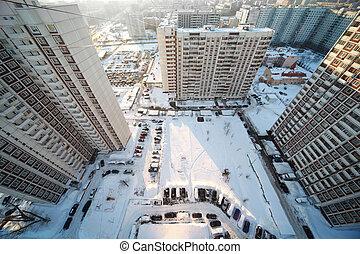dziedziniec, z, trzy, cielna, mieszkanie, domy, zima czas,...