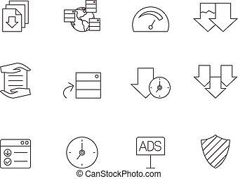 dzielenie, -, szkic, rząd, ikony