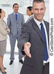 dzierżawa, biznesmen, się, wprowadzając, radosny, jego, ...