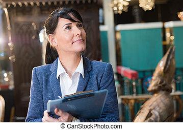 dzierżawa clipboard, kobieta interesu