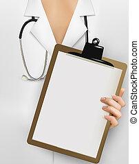 dzierżawa, doktor, stetoskop, listek, clipboard, wektor, paper., czysty, illustration.