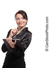 dzierżawa, folder., kobieta uśmiechnięta, handlowy