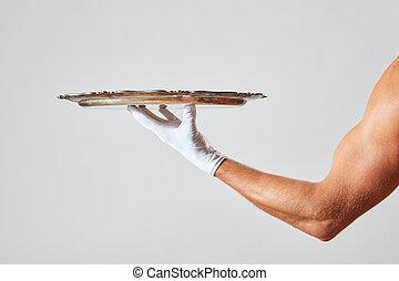 dzierżawa, kelner, metal, muskularny, ręka, rękawiczka, tło, biały, taca, opróżniać