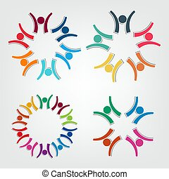dzierżawa, ludzie, circle., teamwork, logo, grupa, osoby