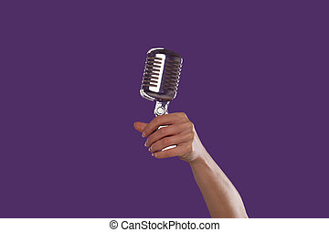 dzierżawa, mikrofon, do góry, samicza ręka