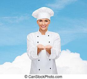 dzierżawa, mistrz kucharski, coś, samicze ręki, uśmiechanie się
