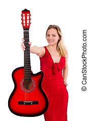 dzierżawa, odizolowany, gitara, ładna dziewczyna, biały